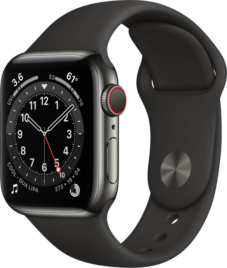 Apple Apple Watch Series 6 GPS + Cellular, 40mm Graphite Stainless Steel Case with Black Sport Band - Regular