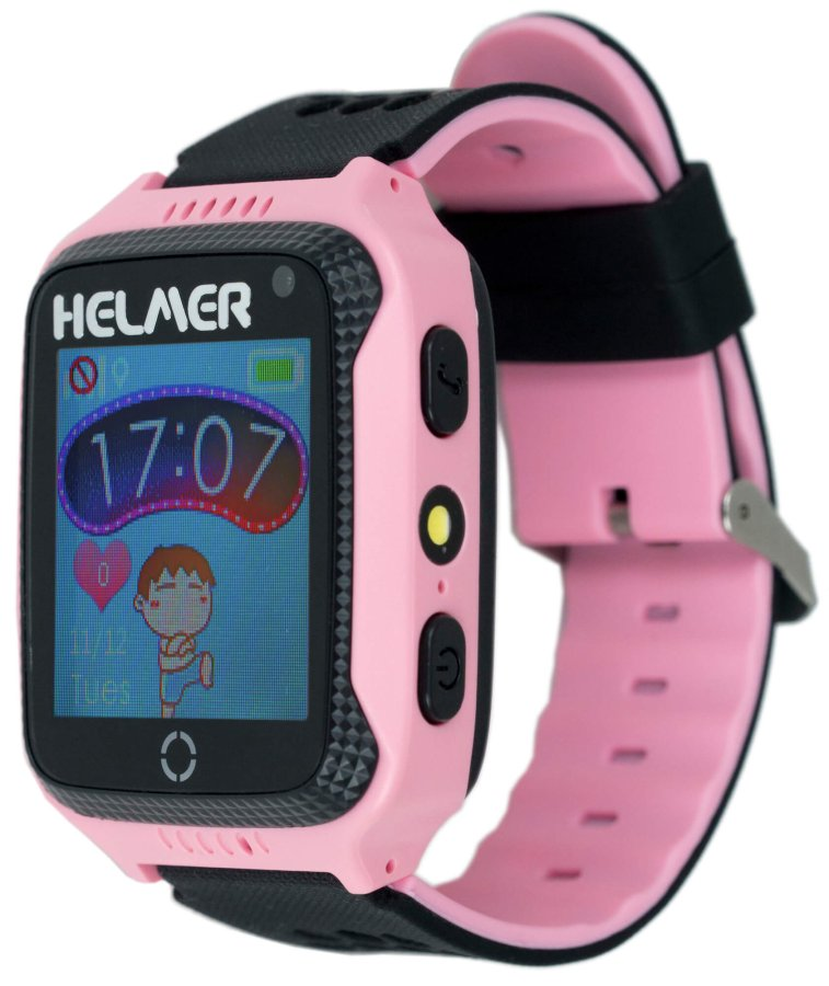 Helmer Chytré dotykové hodinky s GPS lokátorem a fotoaparátem - LK 707 růžové - SLEVA III